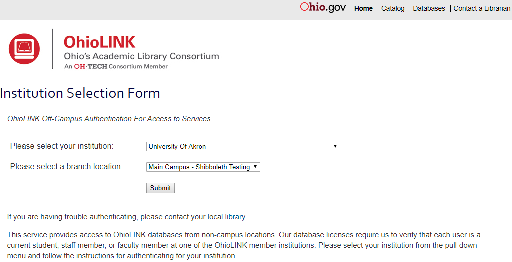 Screenshot of the Institution Selection Form