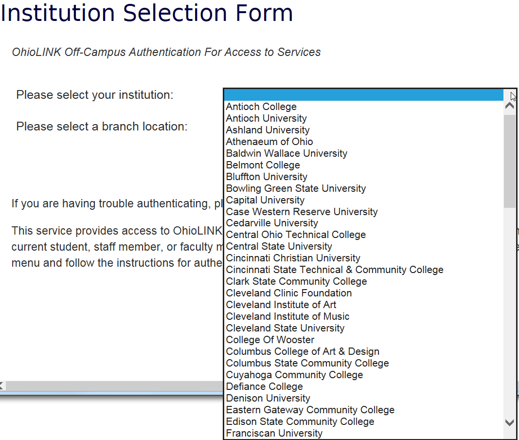 Screenshot of the Institution Selection Form's institution select options.